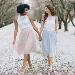 aa134532ea Esley Skirts - NWT Grey tulle midi skirt